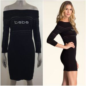 Bebe rhinestone logo sweater dress metallic stripe